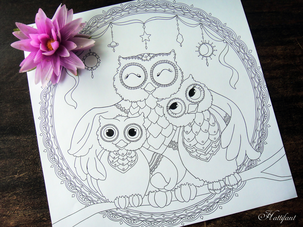 Hattifant's Owl Family Love Coloring Page