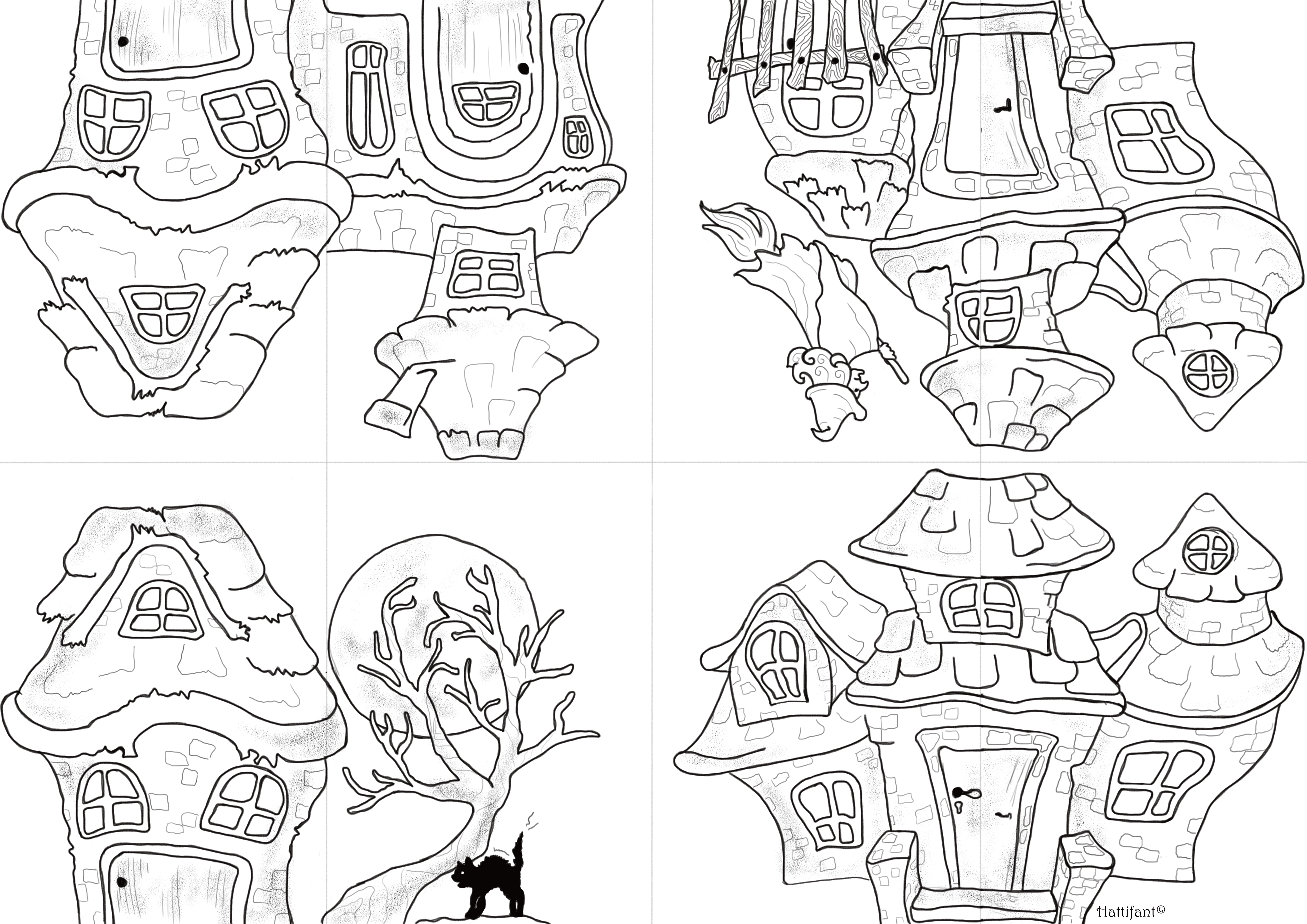 Its Halloween Time to Colour In a Haunted House  Hattifant