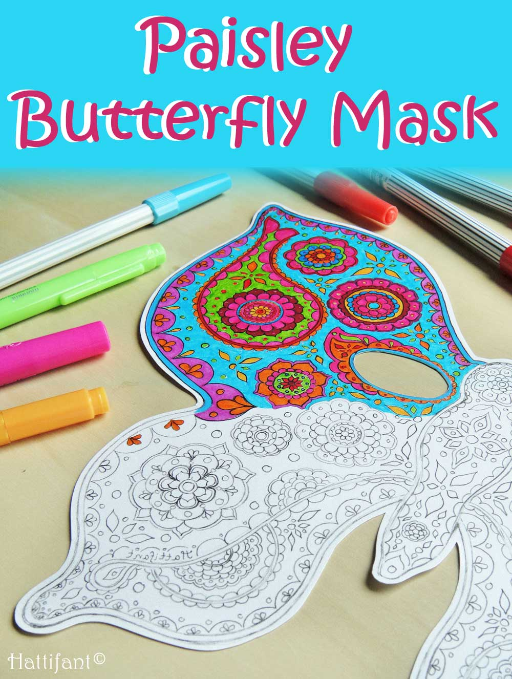 Hattifant Paisley Butterfly Paper Mask to DIY, Color and Craft