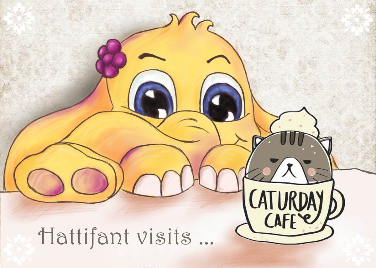 Hattifant Visits CaturdayCatCafe