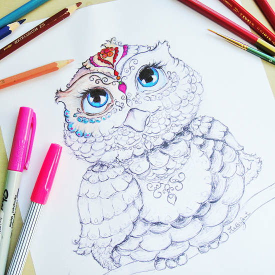 Hattifant's Owl Colouring In Page