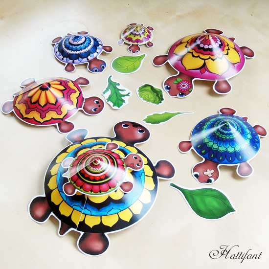 Hattifant Mandala Turtle Family colour color as a kidscraft