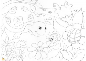 Hattifant's Turtle & Ladybird Coloring Page