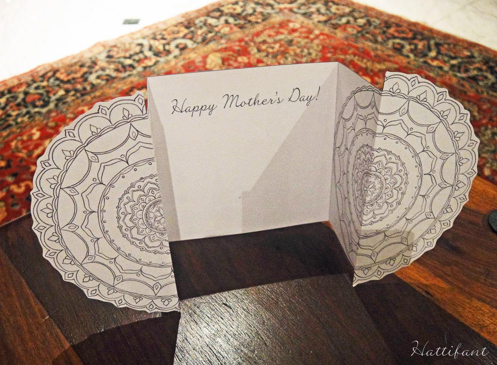 Hattifant's Flower Mandala Mother's Day Card opened