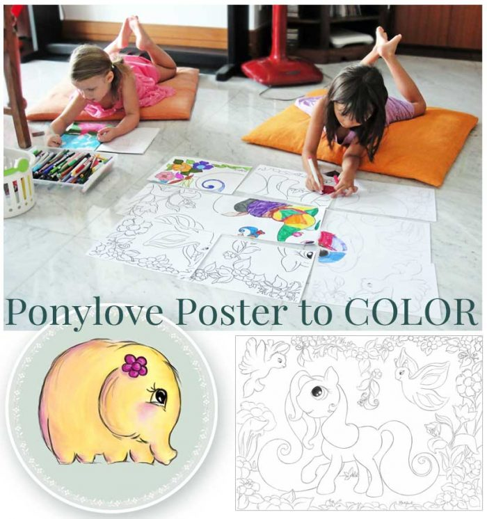 Hattifant Ponly love Giant Poster Coloring Page Kids Pony