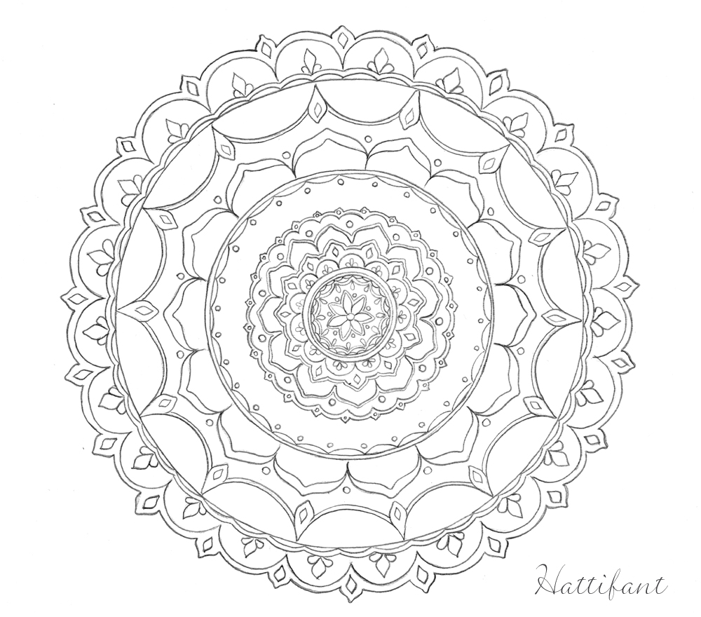 Stress relief coloring pages mandala - Hattifant S Stress Relief Doodles Mandala