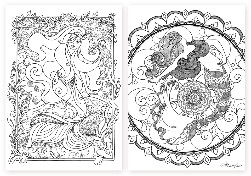 Mermaid galore grown up coloring hattifant for Coloring page mermaid