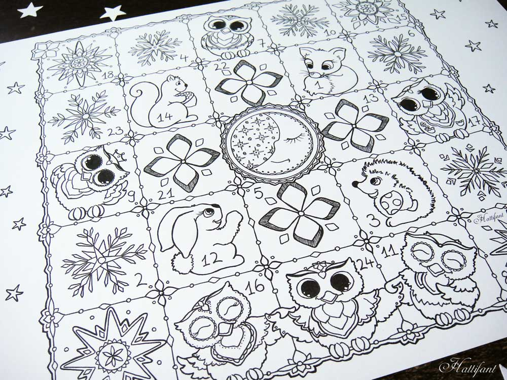 printable advent coloring pages - hattifant 39 s advent calendar woodland cuties hattifant