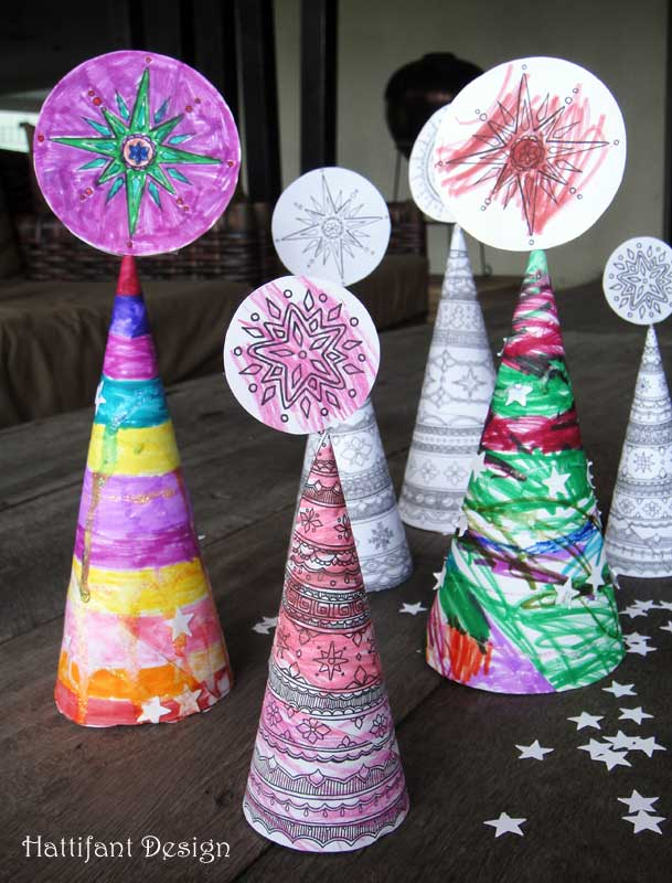Hattifants Christmas Tree Cones To Color