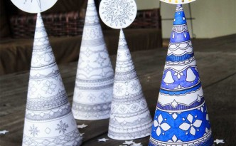 3d christmas tree cone hattifant to color and craft