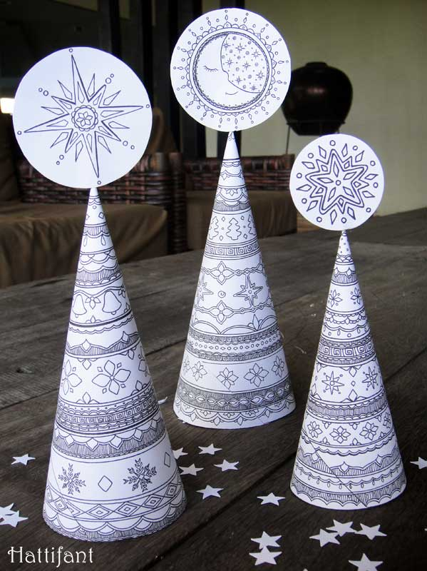 Hattifants Christmas Tree Cone Coloring Craft