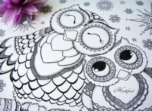 Hattifant Mama and Baby Owl Coloring Page and stationary