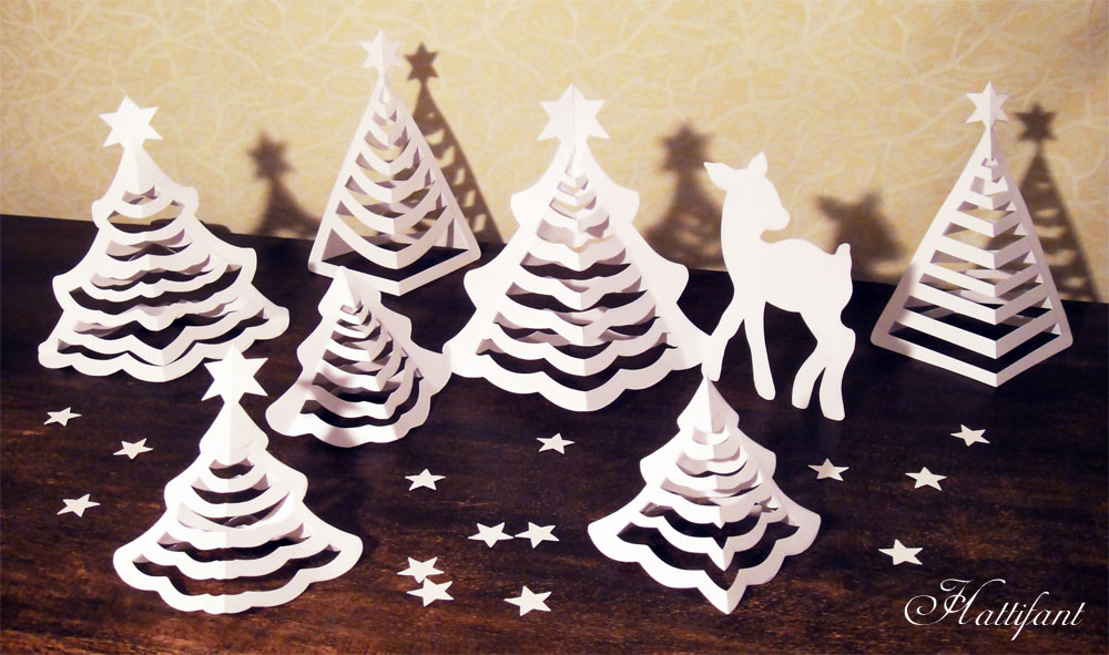 Hattifant   3D Paper Christmas Trees