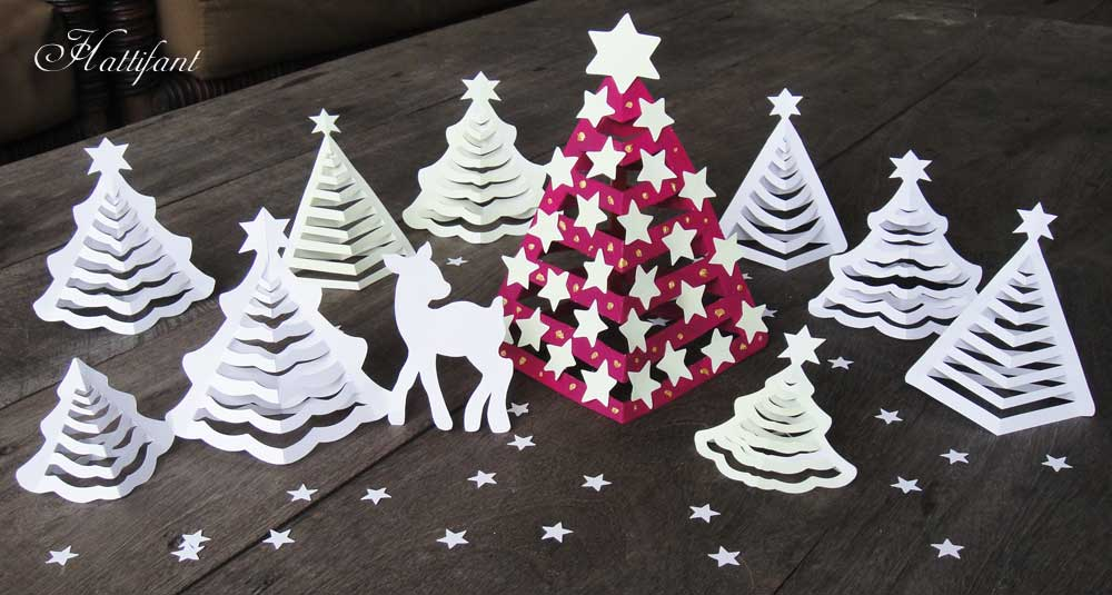 hattifant 3d paper christmas trees glow in the dark - How To Make A Paper Christmas Tree