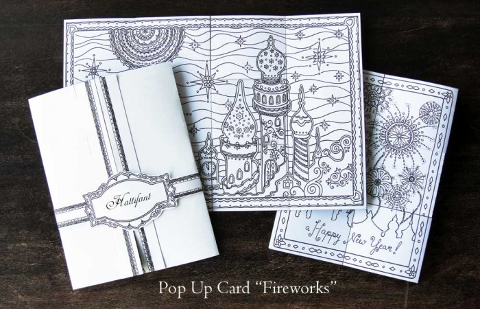 Hattifant Pop Up Card to craft and color Fireworks New Year Stationary Set