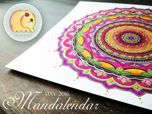 Hattifant Mandalendar Calendar Coloring Page 2016 May