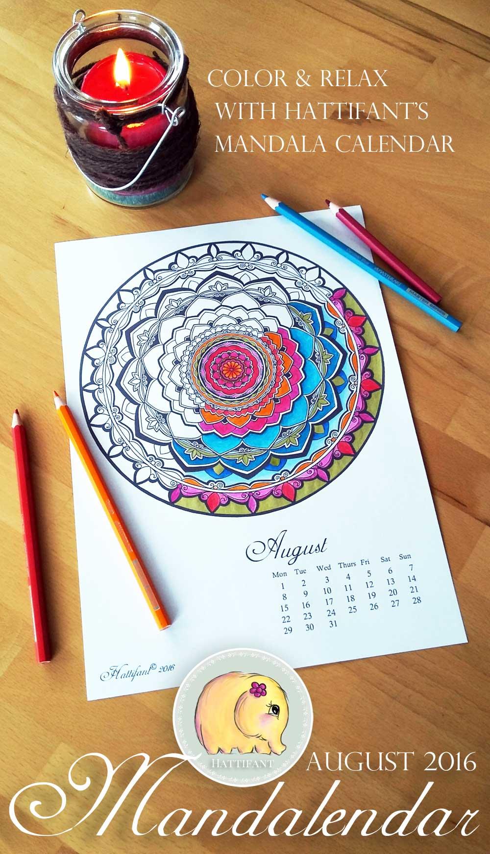 Hattifant Mandalendar Calendar Coloring Page 2016 August