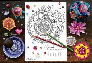 Hattifant Mandalendar Calendar Coloring Page 2016 September