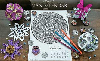 Hattifant Mandalendar Calendar Coloring Page 2016 December