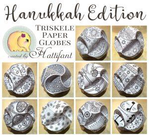 Hattifant's Hanukkah Edition of Triskele Paper Globes