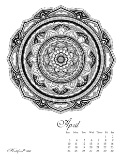 Hattifant Mandalendar April 2016 Calendar Coloring Page