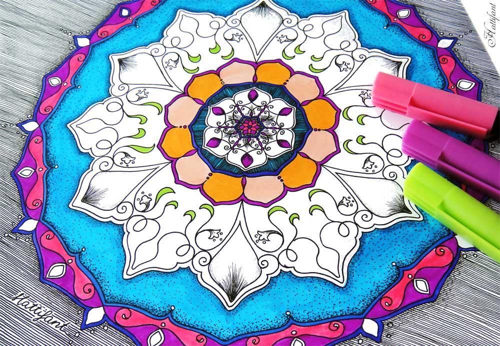 Hattifant Mandalendar Mandala Calendar Coloring Page January Sketch WIP coloring