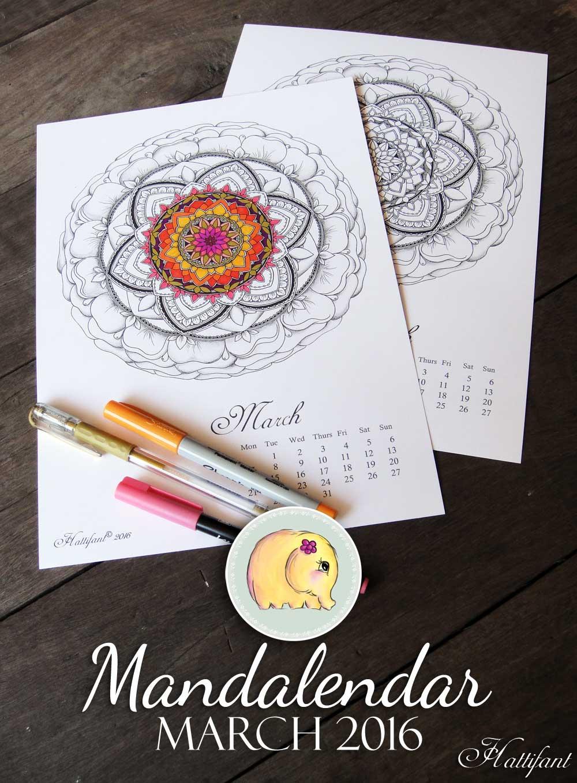 Hattifant Mandalendar Calendar Coloring Page March 2016