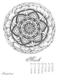 Hattifant Mandalendar March 2016 Calendar Coloring Page