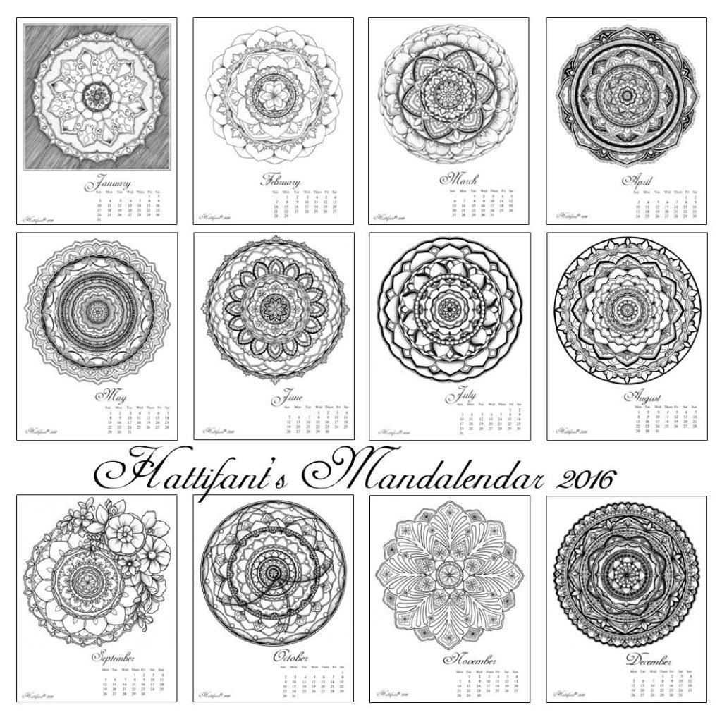Hattifant Mandalendar Calendar Coloring Page 2016 Summary
