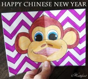 Hattifant - Monkey Pop Up Card Coloring