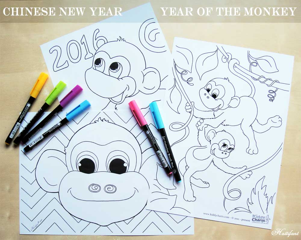 Free coloring pages new year 2016 - Happy Chinese New Year Year Of The Monkey