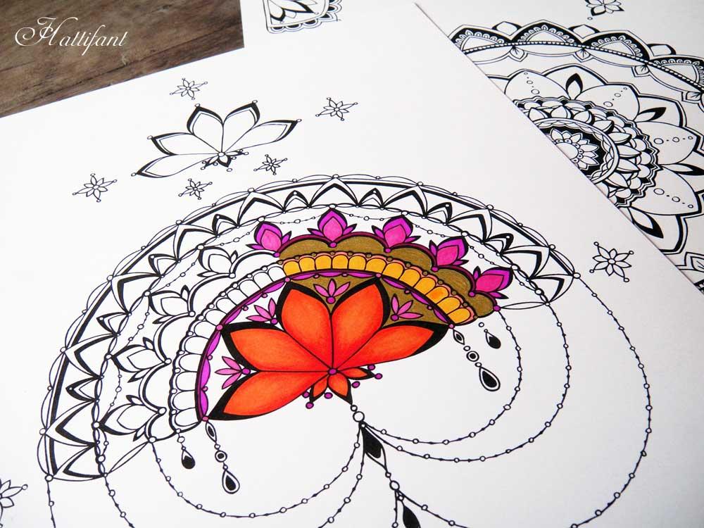 Hattifant half mandala Coloring Page
