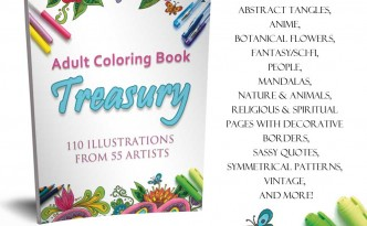 Adult Coloring Book Treasury with 110 coloring pages by 55 artists