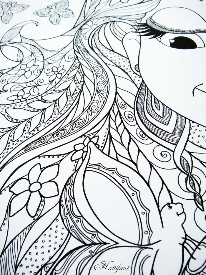 Hattifant coloring page with girl open hair and butterflies