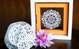 Hattifant Mandala papercut with triskele paper globe papercut