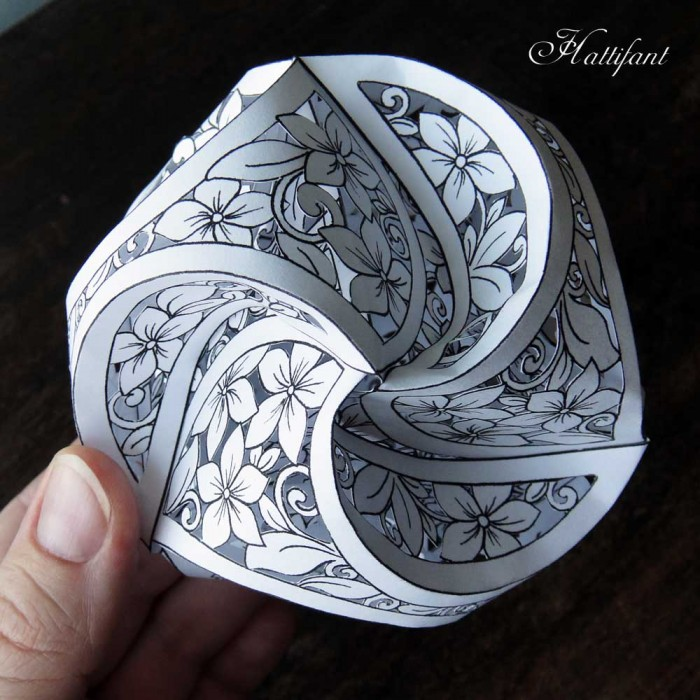 Hattifant Triskele Paper Globe as a Papercut version