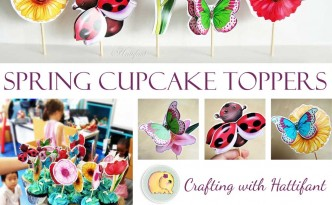 Hattifant Cupcake Toppers Spring Flowers Ladybird Butterfly