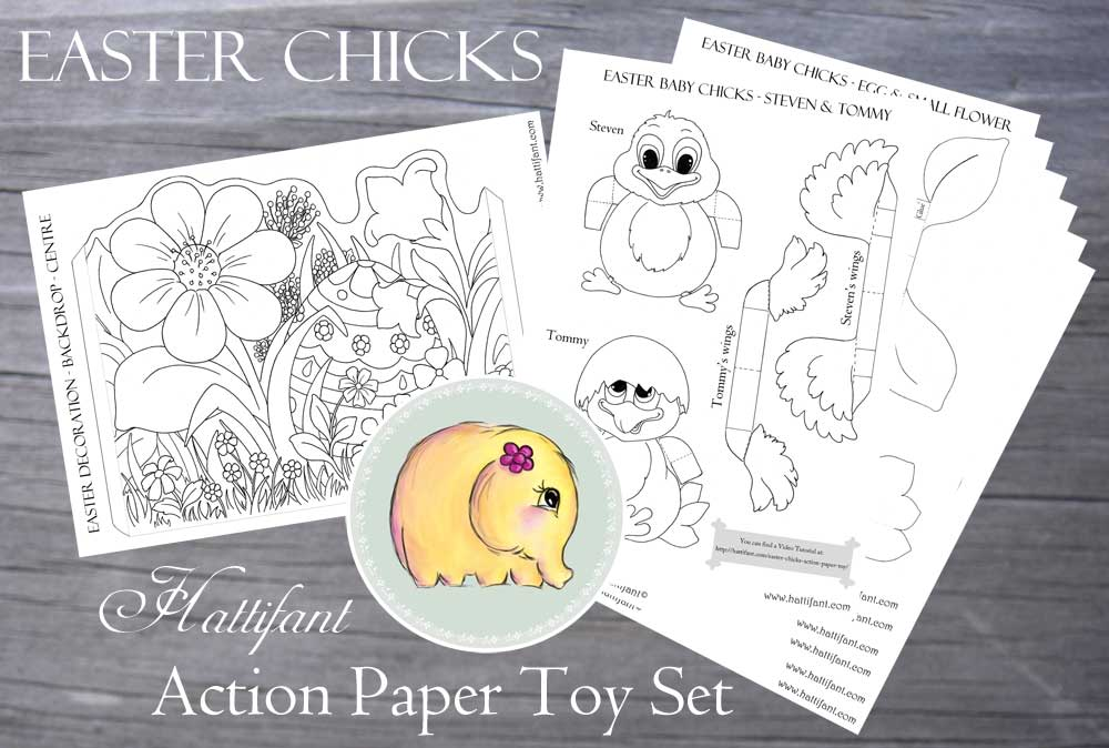 Hattifant Easter Chicks Action Paper Toy Digital Bundle Set Coloring Pages