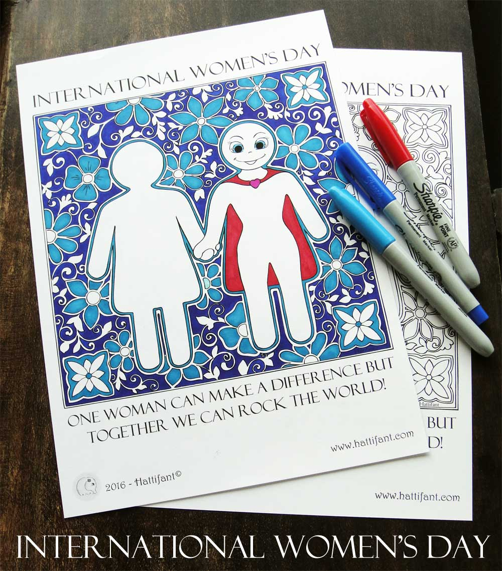 Hattifant International Womens Day it was never a dress coloring page