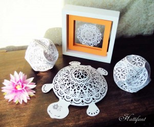 Hattifant Papercuts Turtle Triskele Paper Globe Mandala