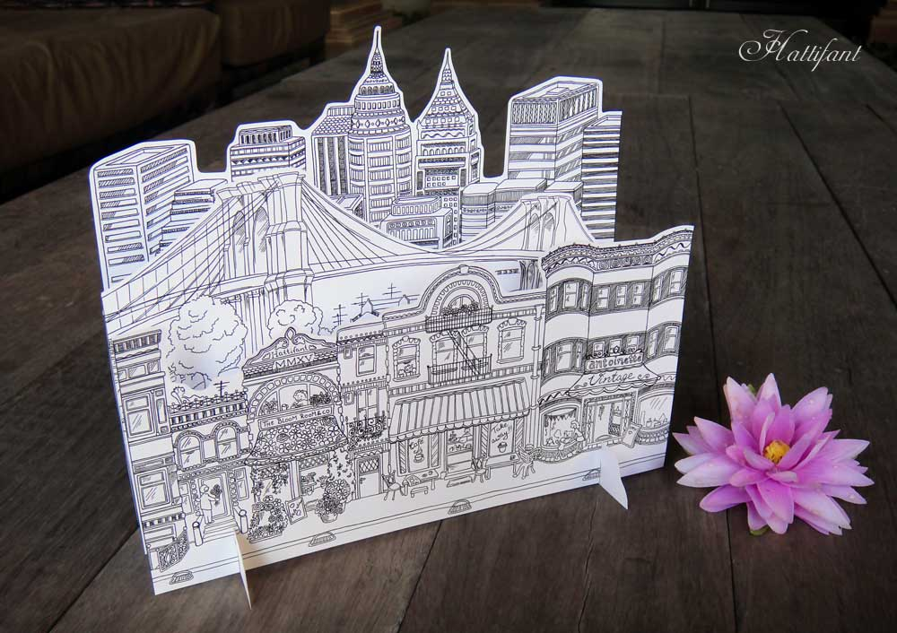 Hattifant's 3D-City to Color as Card to simply stack together inspired by Brooklyn