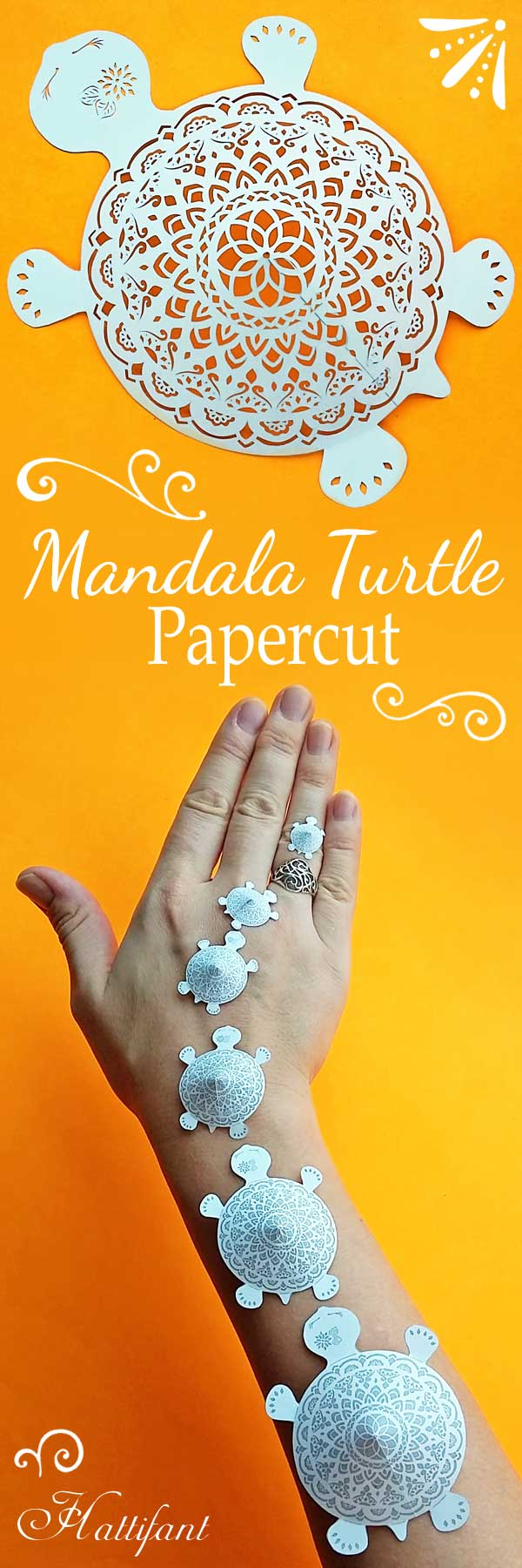 Hattifant's Mandala Turtle to papercut a papercraft paperart printable to DIY