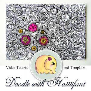 Hattifant Doodle with me Flower Swirl Pattern