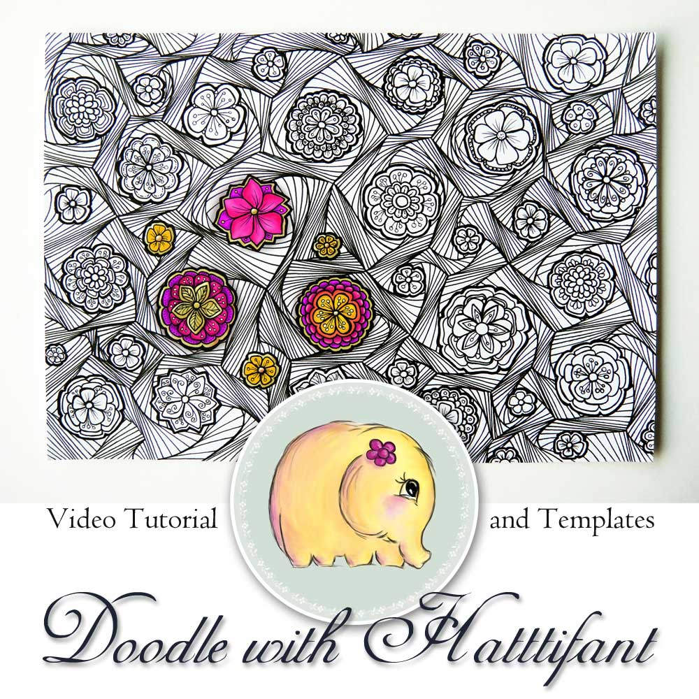 Hattifant Doodle with me Flower Swirl Pattern