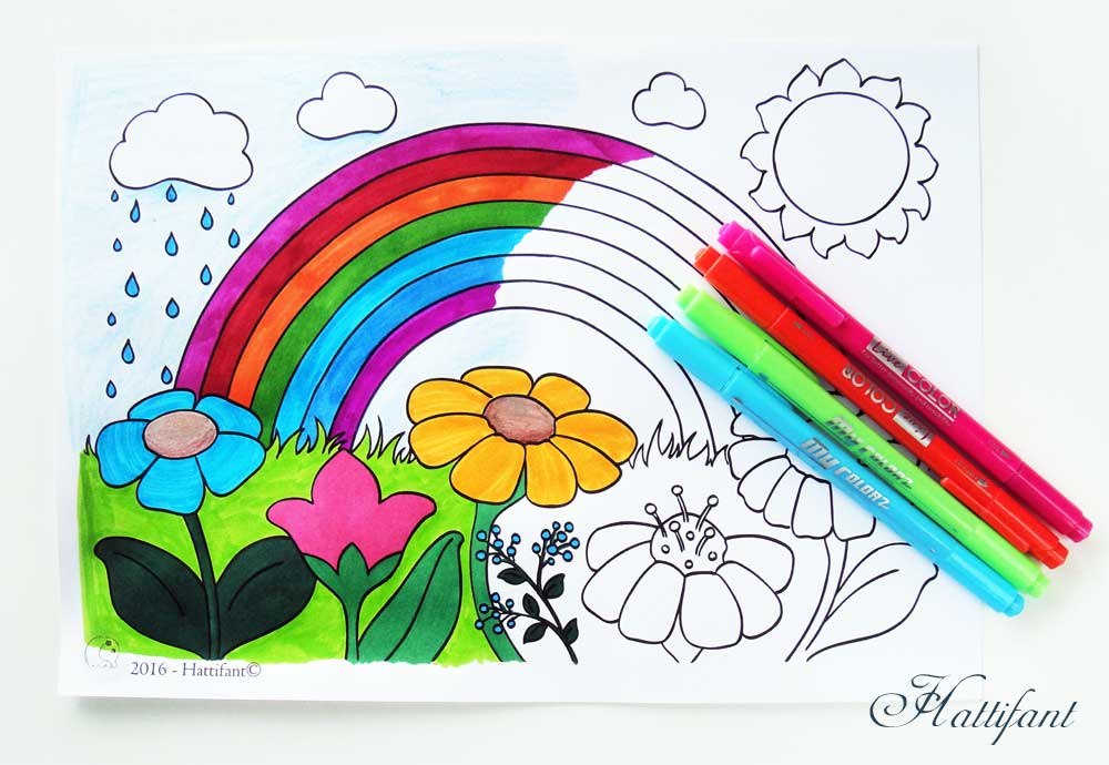 Hattifant Kids Coloring Pages for Spring with Rainbow