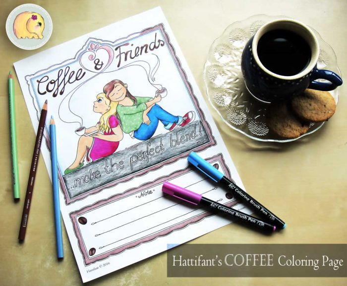 Hattifant Coffee and Friends Adult Coloring Papge with Coloring Tribe August 2016