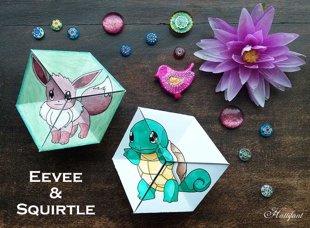 Hattifant pokemon evolution papertoy flextangle kaleidocycle coloring page free printable Eevee and Squirtle