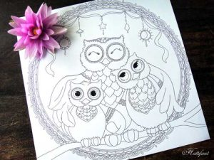 Hattifant Owl Family Love Coloring Page for adults and kids