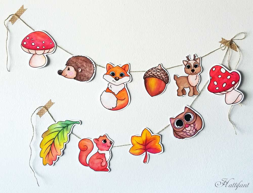 Hattifant Woodland Animal Garland Papercraft to color and in color