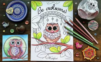 Hattifant Owlsome Owl Coloring Page for adults and kids